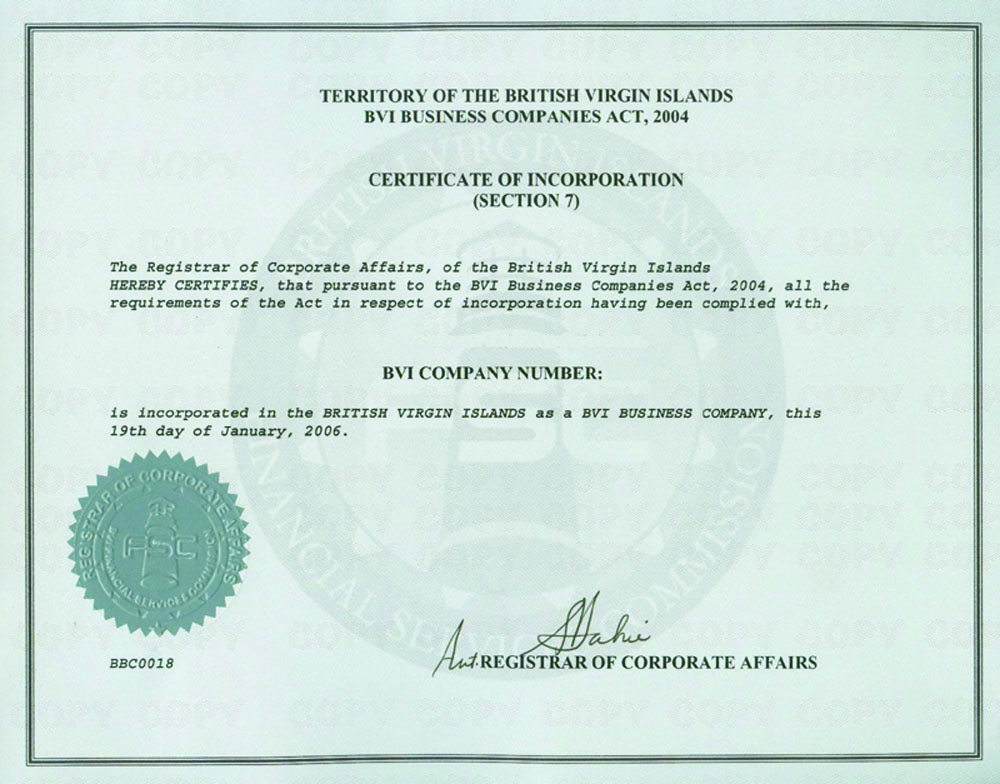 Bvi sample certificate of incorporation of a british virgin islands company yelopaper Image collections